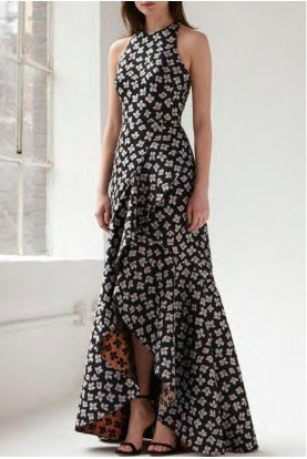 Floral Hi Low Sleeveless Jacquard Gown  445835