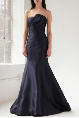 Navy Strapless Trumpet Evening Gown  445883