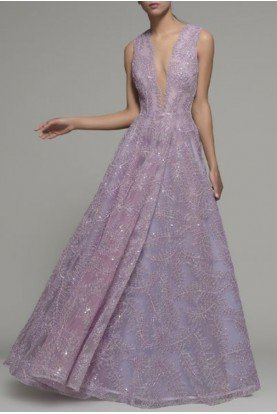 Embroidered Purple Norwood Ball Gown 240