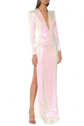 Emmet White Long Sleeve Sequin Gown