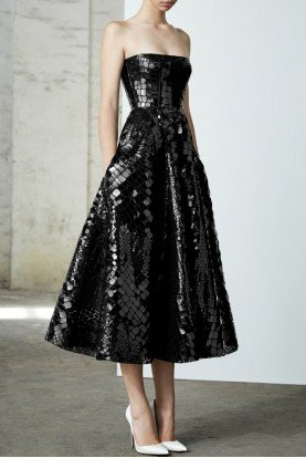 Colt Black Sequin Reptile Strapless Midi Dress