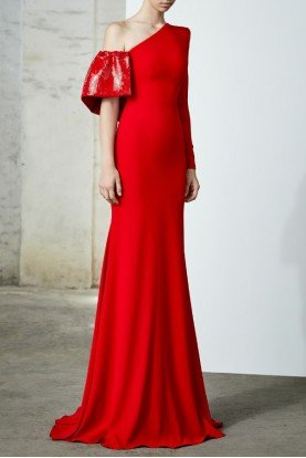 Atlas Red Sequin and Satin One Shoulder Gown
