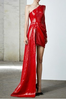 Preston Red One Shoulder Sequin Draped Dress