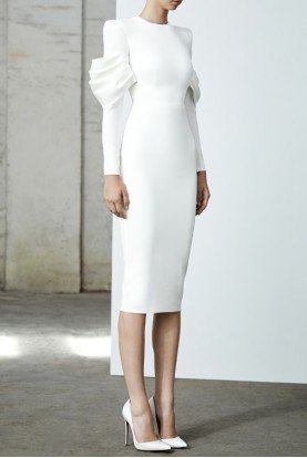 Darcy White Satin Crepe Long Sleeve Midi Dress