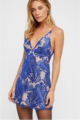 Free People Night Shimmers Mini Dress in Blue