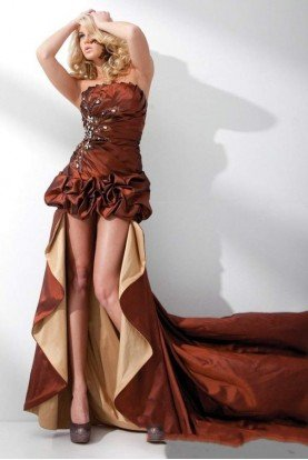 Tony Bowls Strapless Taffeta High Low Gown in bronze