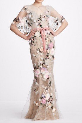 Marchesa 2 Piece Oyster Tulle V Neck Gown with Capelet