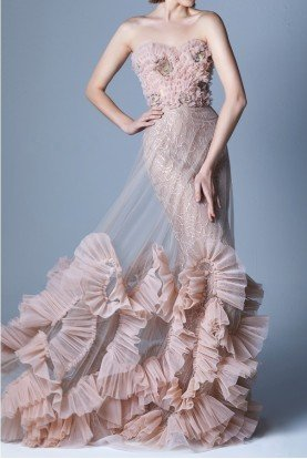 Gaby Charbachy Nude Sweetheart Soft Applique Train Gown G1108