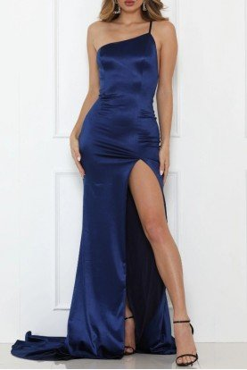 Blue One Shoulder Flame Gown w Open Back