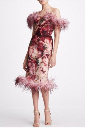 Marchesa Ombre Floral Printed Cocktail Dress M27918