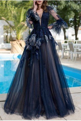 Cristallini Navy Feathered Open Back Evening Gown 887