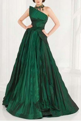 2558 Green One Shoulder Ball Gown Evening Dress