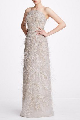 Marchesa M27826 Feather Embellished Tulle Strapless Gown