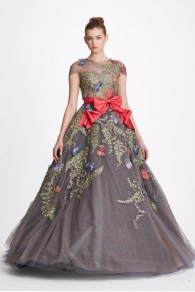 Red Bow Illusion Neckline Ball Gown in Charcoal