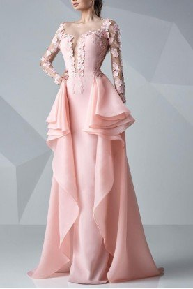 Blush Pink Long Sleeve Petal Applique Gown G0649