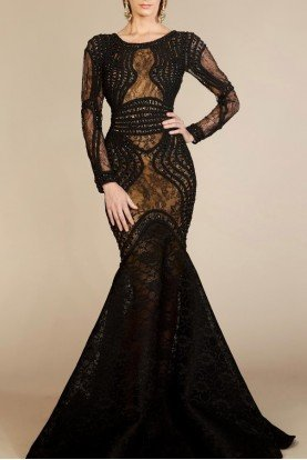 Black Long Sleeve Corded Bodice Gown 2257A
