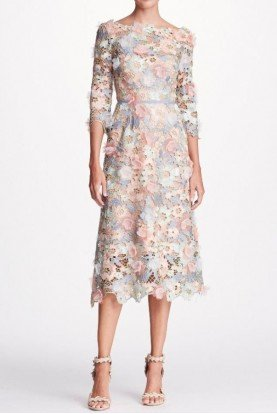 3D Long Sleeve Floral Guipure Lace Midi Tea Dress