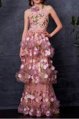 Blush Pink 3D Floral Embroidered Evening Gown
