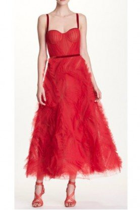Sleeveless Textured Tulle Red Midi Dress N32G0581