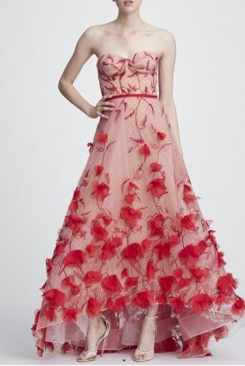 Strapless Flower Embroidered Hi Lo Gown N27G0735