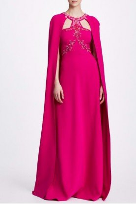 Beaded Fuchsia Pink Cape Gown N34G1015