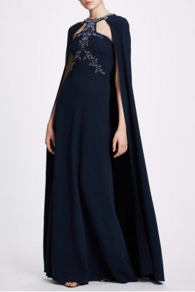 Navy Blue Beaded Cape Gown N34G1015