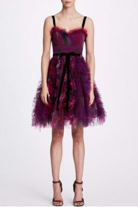 Sleeveless Textured Tulle Cocktail Dress N34C1035