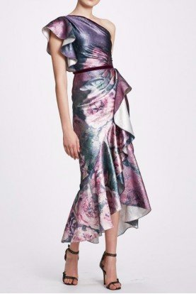 One Shoulder Metallic Midi Tea Dress in Amethyst