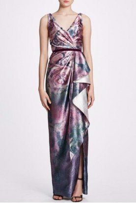 Amethyst Metallic Sleeveless Draped Gown N34G1018