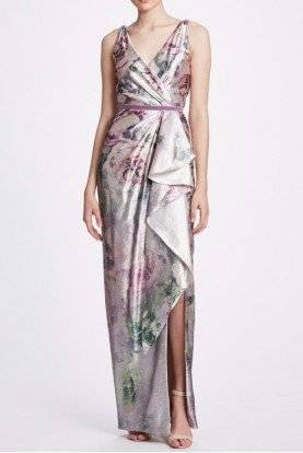Sleeveless Lilac Metallic Draped Gown N34G1018