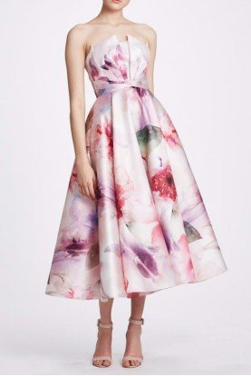 Blush Strapless Printed Mikado Midi Dress N34M1038