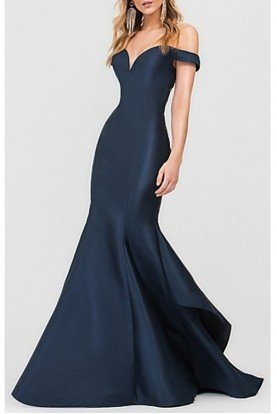 Val Stefani 3615LW Navy Off the Shoulder Mermaid Gown