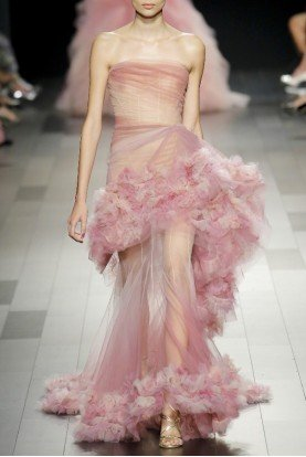 Marchesa Couture Light Pink Silk Organza Gown