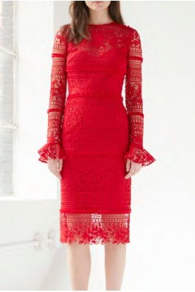 ML Monique Lhuillier Lipstick Red Long Sleeve Lace Column Dress 445775