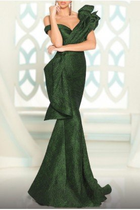 Green One Shoulder Ruffled Mermaid Gown 2519