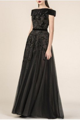 Black Sky Off Shoulder A Line Evening Gown 3586