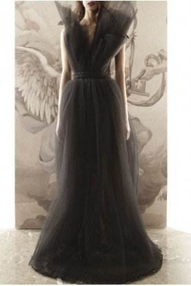 Black Strapless Structured Tulle Evening Gown 020