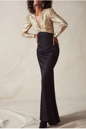 Black and Gold V Neck Sequined Gown F29G01-001