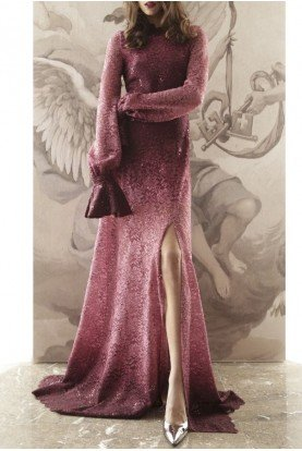 Ombre Burgundy and Black Long Sleeve Lace Gown 019