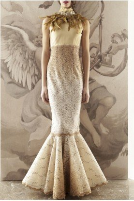 Beige Embellished Satin Mermaid Lace Gown 015