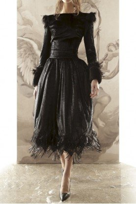 Gabriele Fiorucci Buciarelli Velvet Lame Midi Two Piece Dress