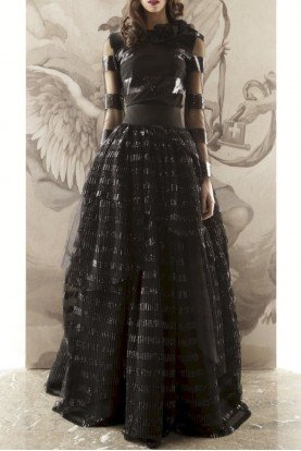 Black Paillette Two Piece Maxi Gown