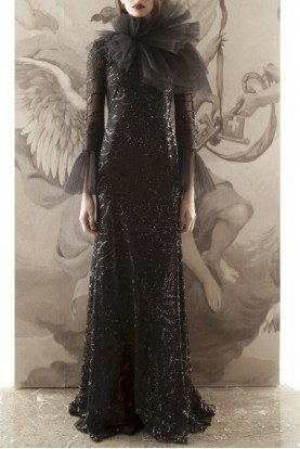 Black Long Sleeve Gown with Neck Detailing