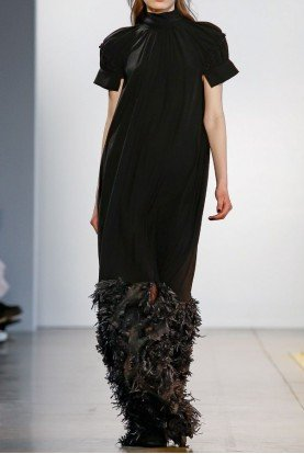 Black Fillmore Gathered Short Sleeve Gown