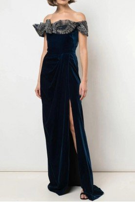 Navy Blue Embellished Off Shoulder Velvet Gown
