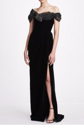 Black Embellished Off Shoulder Velvet Gown