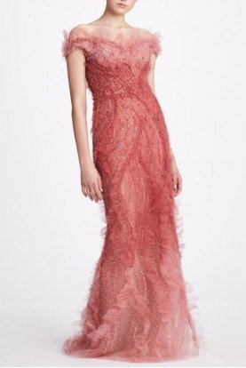 Rose Pink Ombre Tulle Off Shoulder Gown M27827