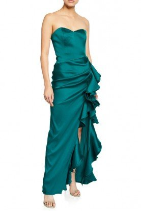 Emerald Green Strapless Mikado Gown EG2410A