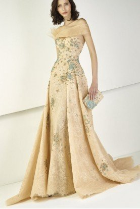 Strapless A Line Evening Gown in Nude