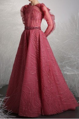 Tony Ward Rose Pink Long Ruffle Sleeve Gown